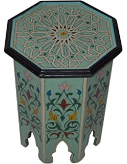 Moroccan Handmade Wood Table Side Delicate Hand Painted Aqua Exquisite