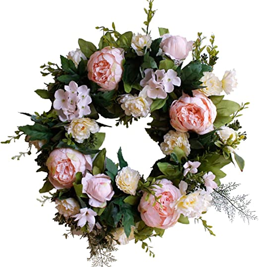 Large Artificial Flowers Front Door Wreath,16 Handcrafted Twig Garland Pink Peony Blooming Floral Door Accent Wreaths for Home Wedding Decoration