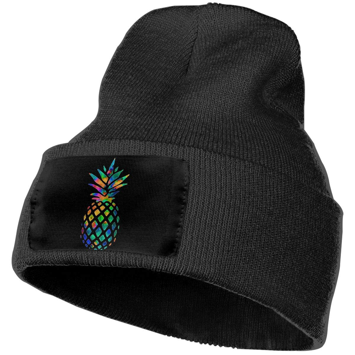 Watercolor Pineapple Men/&Women Warm Winter Knit Plain Beanie Hat Skull Cap Acrylic Knit Cuff Hat