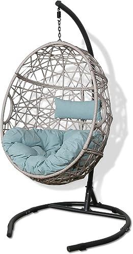Peak Home Furnishings Patio Wicker Hanging Basket Swing Chair Indoor Outdoor Teardrop Chair Hammock Egg Chair