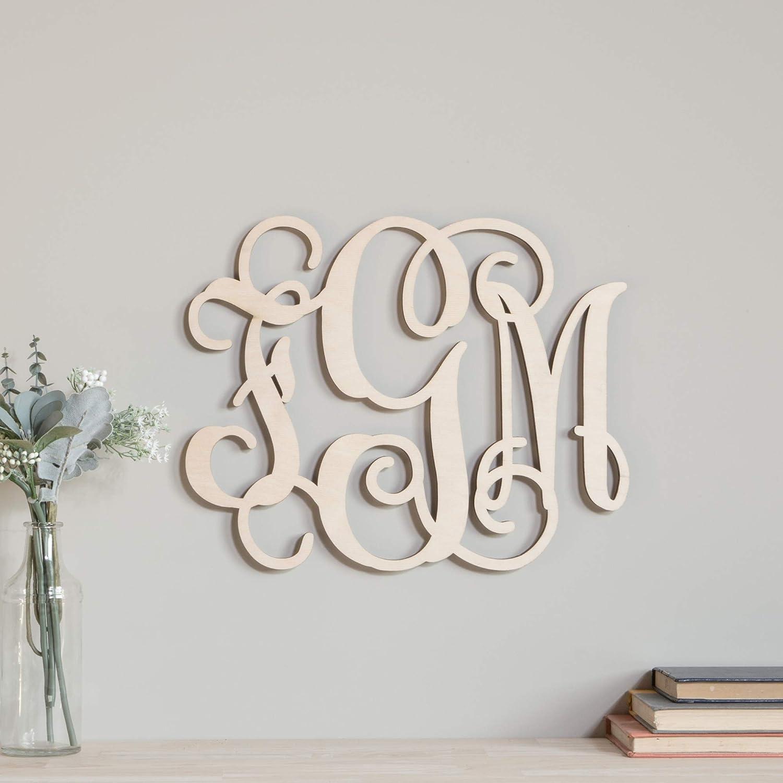 12-28 inch Wooden Monogram Custom Vine Wood Letters Wall Art Nursery Decor Room Large 3 Initials Script Craft Door Hanger Wreath Cutout Ready to Paint