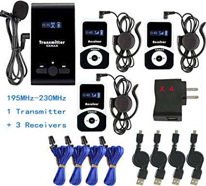 1 Transmitter 15 Receivers EXMAX ATG-100T 195-230MHz Wireless Tour Guide Monitoring System Microphone Earphone Headset for Church Tour Exhibit Guide Church Travel