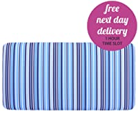 Children's Cotton Blue White Navy Striped Single Bed Divan Headboard