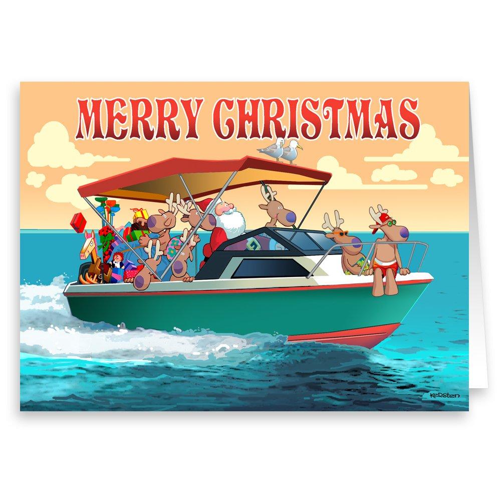 Amazon.com: Merry Christmas - Boat Christmas Card - 18 Cards ...