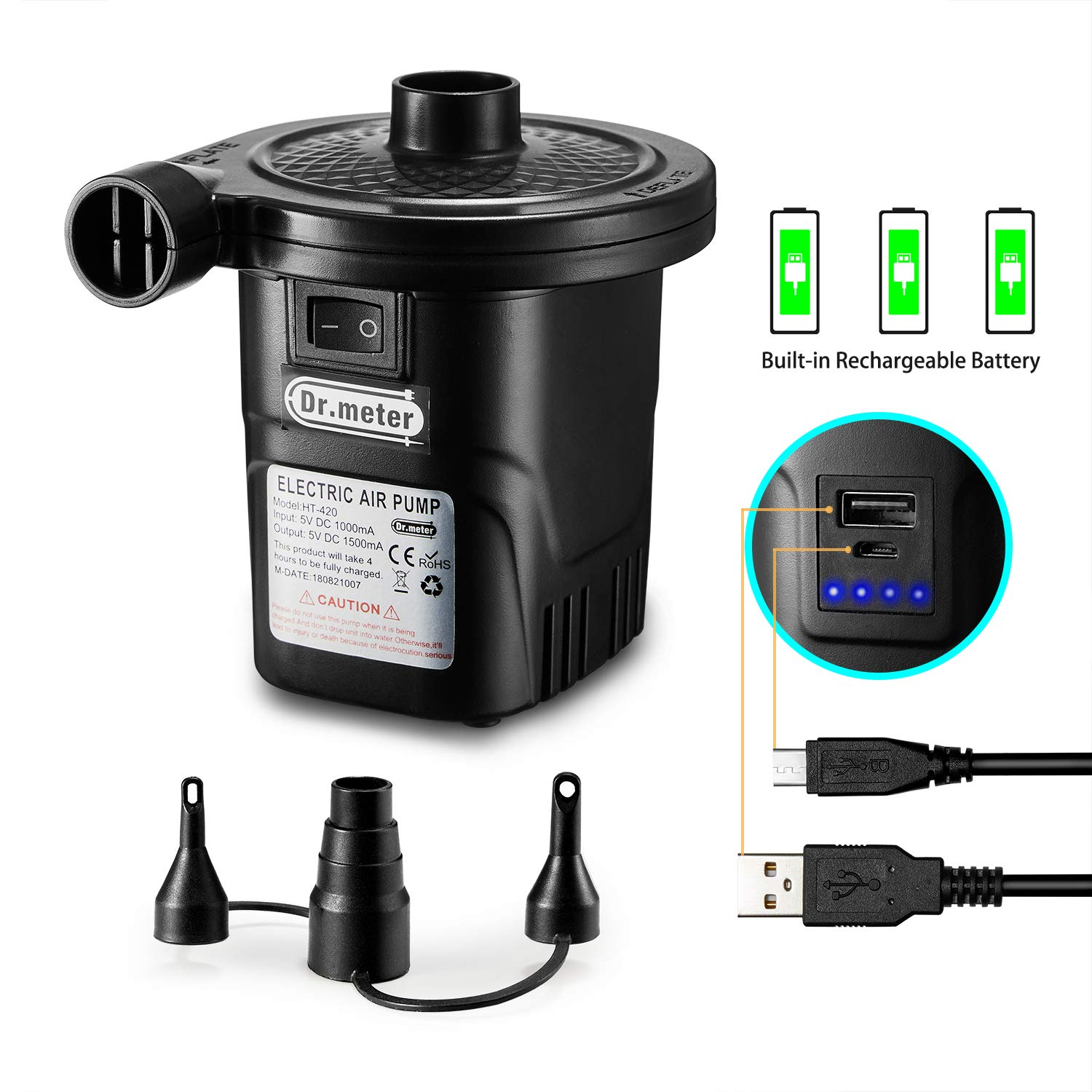Rechargeable Air Pump, Dr.meter HT-420 Portable Electric Air Pump Quick-Fill Inflator Deflator Air Mattress Pump with Charging Function/ 3 Nozzles for Inflatables Tire Raft Bed Boat Pool Toy, Black