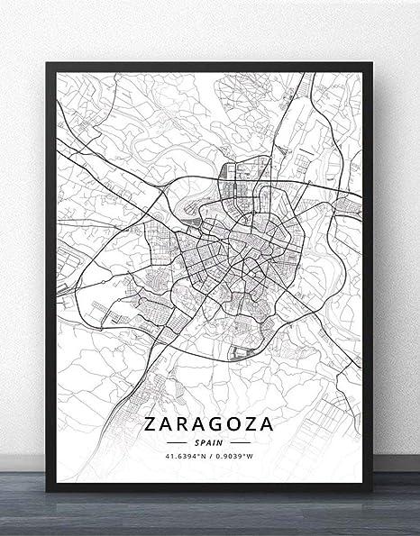 ZWXDMY Impresión De Lienzo,España Mapa De La Ciudad De Zaragoza Líneas De Texto Minimalista En Blanco Y Negro Lienzo Abstracto Pintura Mural Poster Sin Cerco Decoración Estudio,30×40 Cm.: Amazon.es: Hogar