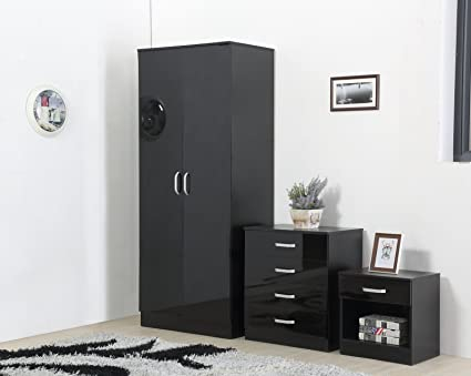 Brilliant Limitless Home High Gloss 3 Piece Bedroom Furniture Set Includes Wardrobe 4 Drawer Chest Bedside Cabinet Black Home Interior And Landscaping Ponolsignezvosmurscom