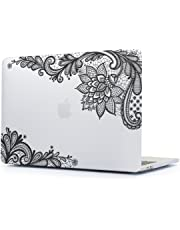 New 2019 2018 2017/2016 MacBook Pro 13 Case,Batianda Lovely Lace Design Matte Cover for MacBook Pro 13 inch with/Without Touch Bar (Model:A1989 A1706/A1708)- Transparent