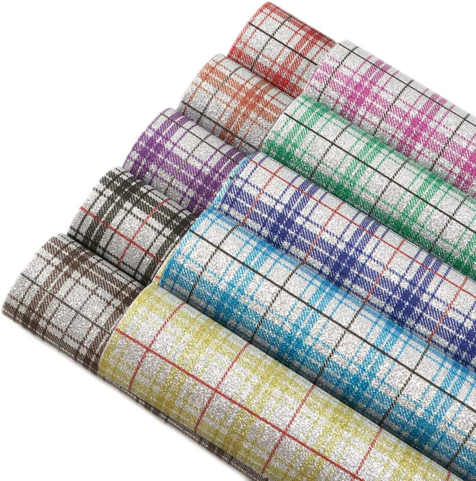 David accessories Plaid Pattern Fine Grain Glitter Printed Faux Leather Sheet Synthetic Leather Fabric 10 Pcs 7.7