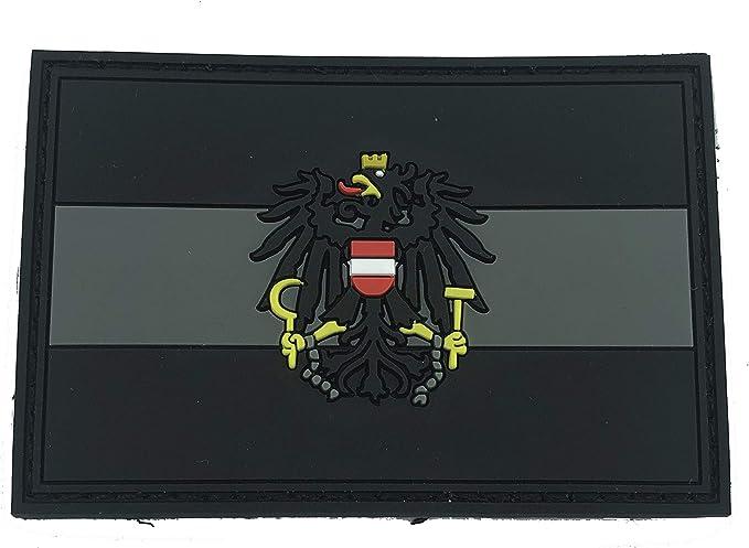 Österreicher Österreich Schwarz Flagge Pvc Patch Klett Emblem Abzeichen Sport Freizeit