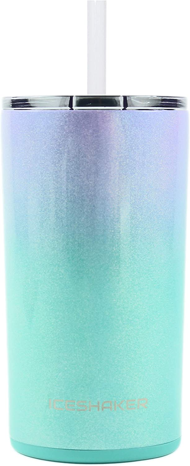 Ice Shaker 12 oz Skinny Tumbler (Mermaid) - Stainless Steel Tumbler & Insulated Water Bottle With Straw - Vacuum Insulated Tumbler For Hot and Cold Beverages-Holds Ice for 30+ Hours | Gronk Shaker