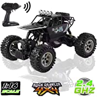 LBLA Off-Road Rock Crawler 1:16 Scale Alloy Body RC Monster Truck with Rechargeable Battery (Black)