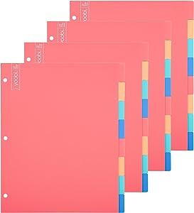 Yoobi | Dividers | 8 Tab | Multicolor Variety Pack of 4 (YOOB4192678)
