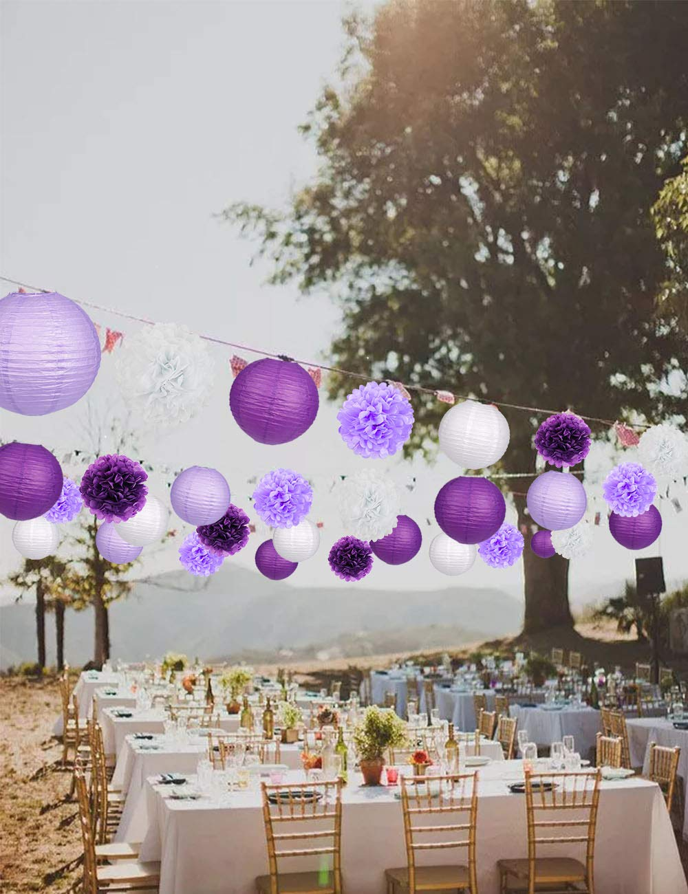15Pcs Party Pack Paper Lanterns and Pom Pom Balls Hanging Decoration for Halloween Wedding Birthday Baby Shower-Black//Red//White