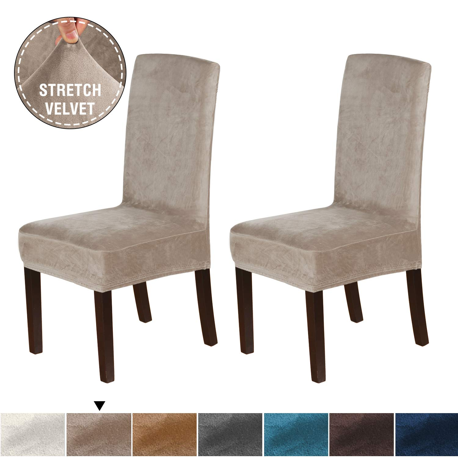 H.VERSAILTEX Soft Form Fitting Velvet Dining Room Chair Covers Feature Real Velvet Stretch Fabric, Banquet Chair Seat Protector Slipcover for Home Party Hotel Wedding Ceremony, Pack of 2, Taupe