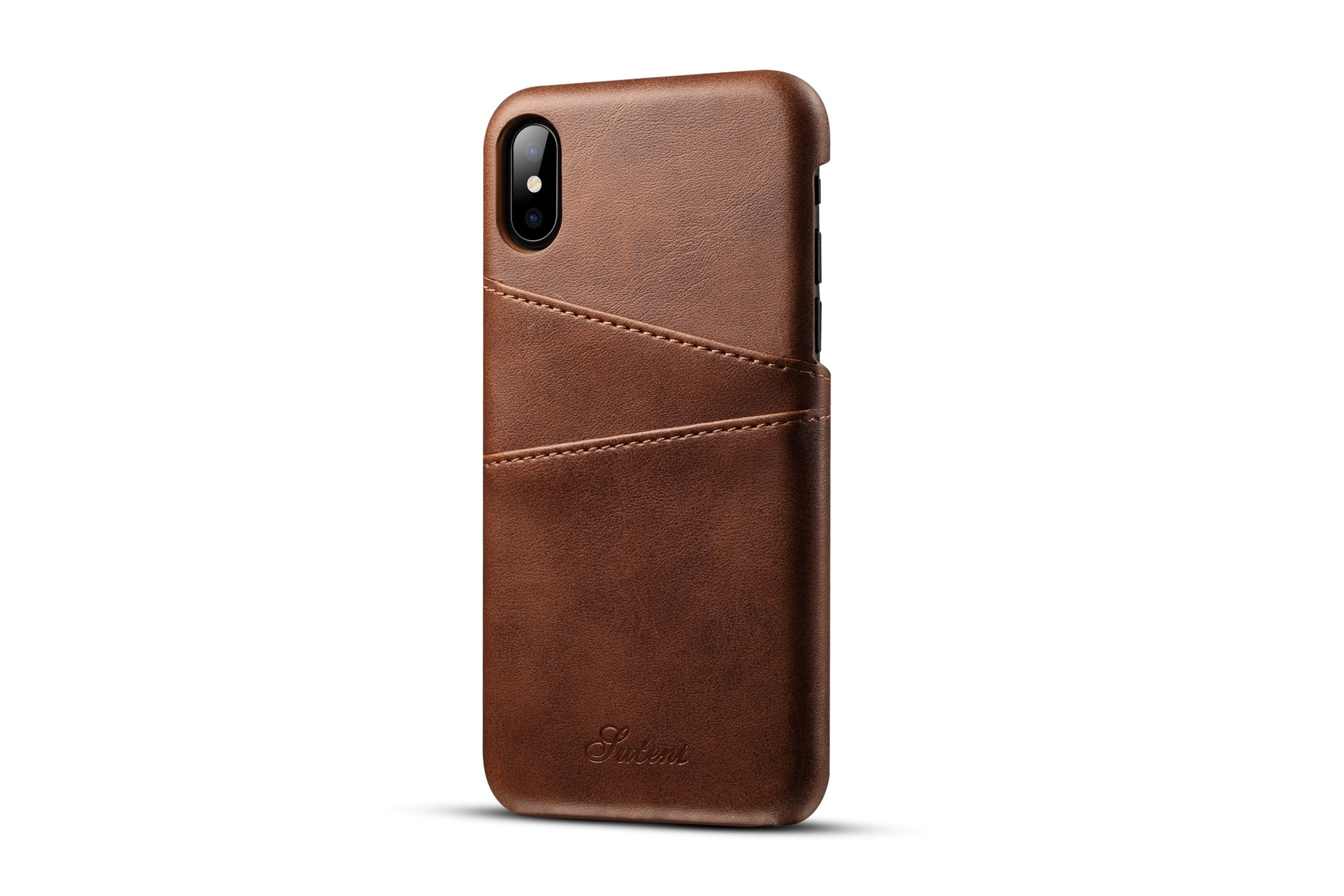 iPhone XS Wallet Case,taStone Business Premium PU Leather Phone Case with Card/ID Holder Slots Men Lightweight Classic Style Slim Protective Screen Cover for 5.8 Inch iPhone X,iPhone XS,Dark Brown