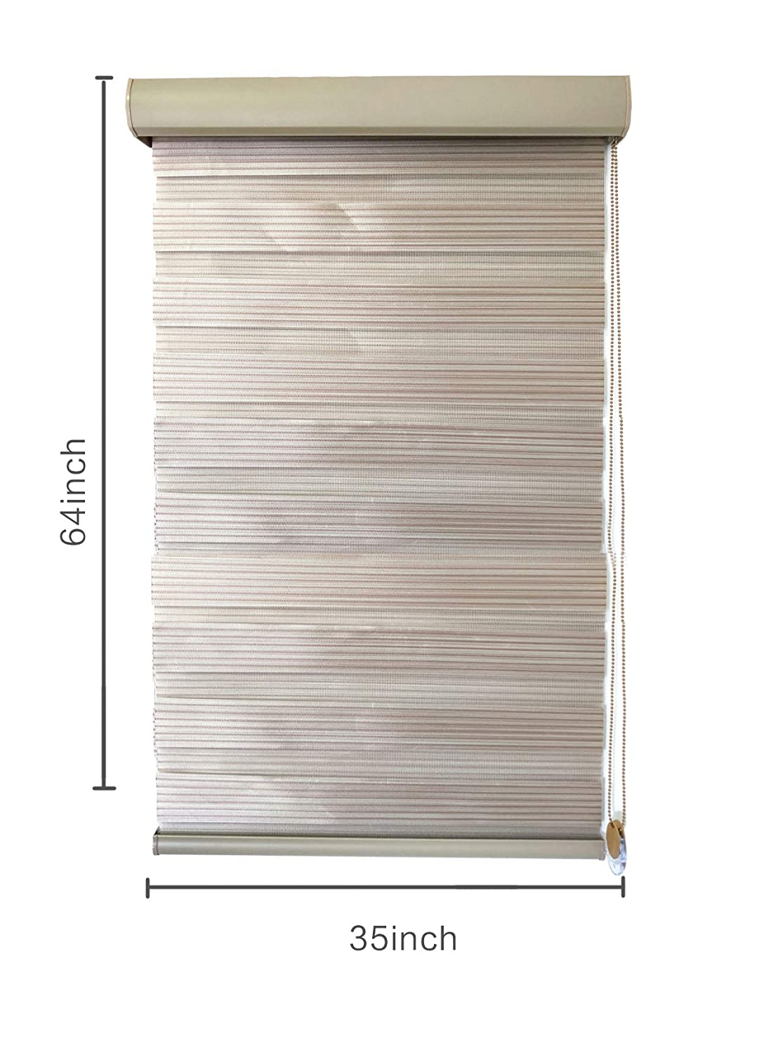 Inch for Windows,Horizontal Window Blinds,Zebra Roller Blinds Wenmier Zebra Roller Shades Blinds W35 X H64 Horizontal Window Blinds and Shades/& Dual Layer Blinds
