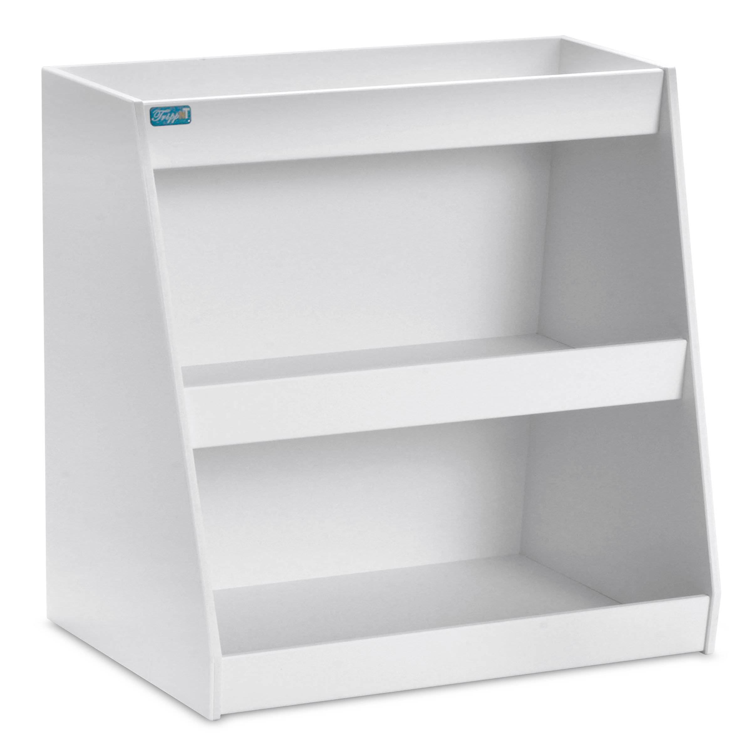 TrippNT 50106 PVC Angled Triple Safety Shelves with No Door, 12'' Width x 12'' Height x 9'' Depth, White