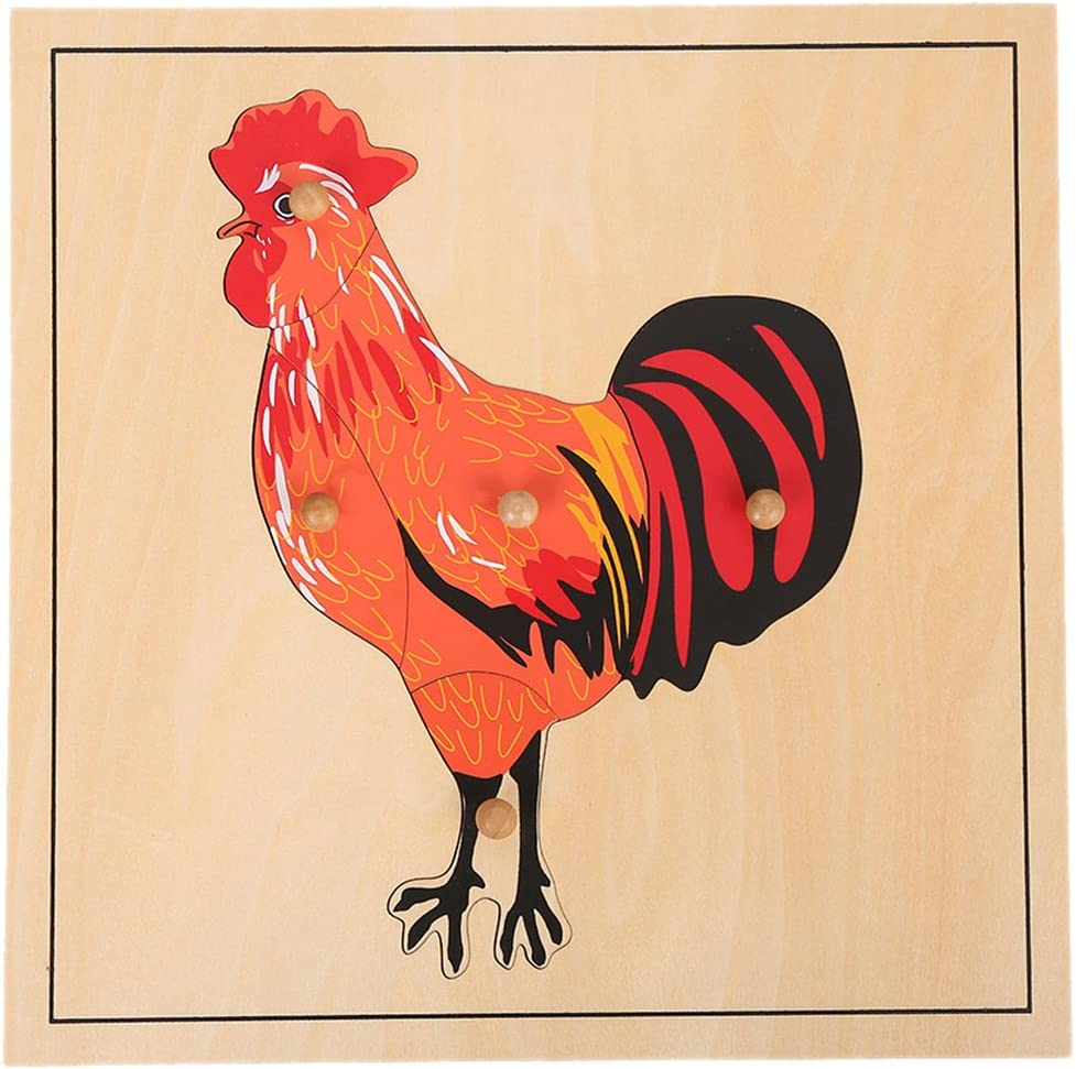 LEADER JOY Montessori Nature Materials Rooster Puzzle for Early Preschool Learning Toy