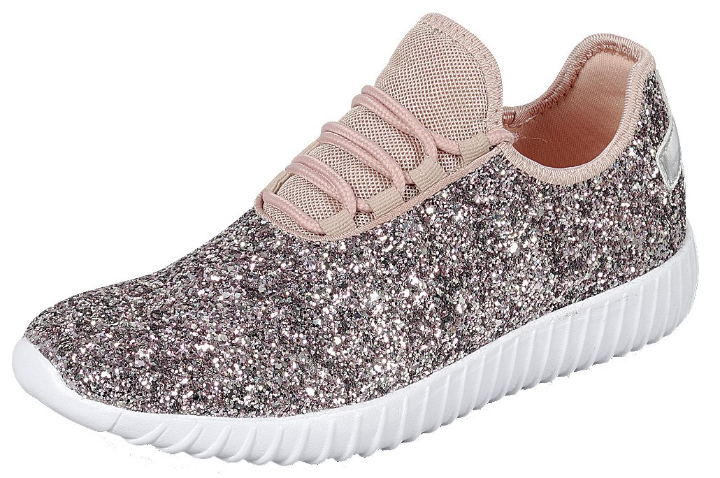 Cambridge Select Women's Closed Toe Glitter Encrusted Lace-up Casual Sport Fashion Sneaker B07D2K814Y 10 B(M) US|Pink