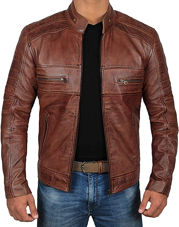brown quilted leather jacket