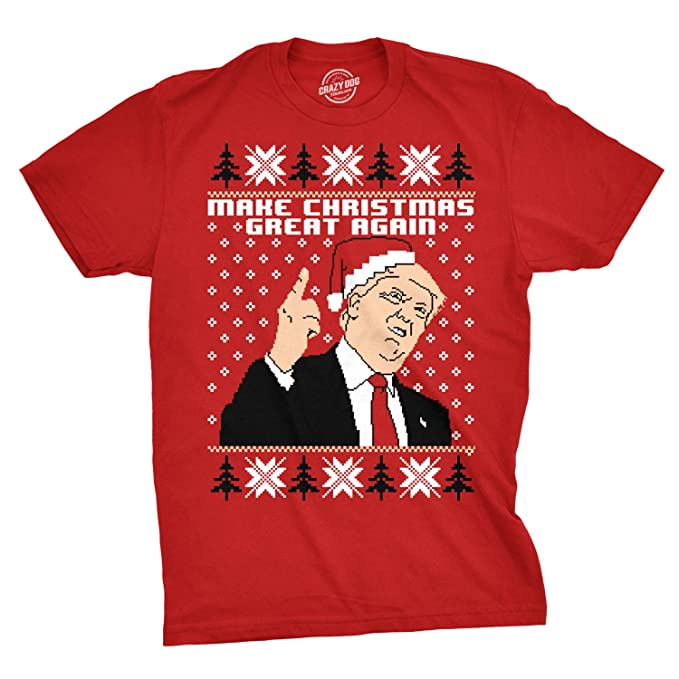 Crazy Dog Tshirts - Mens Make Christmas Great Again Republican Candidate Funny Ugly Xmas T Shirt
