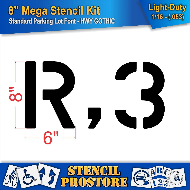 Pavement Stencils - 8 inch MEGA Alpha/NUM Set - (64 Piece) - 8'' x 6'' x 1/16'' (63 mil) - Light-Duty by Stencil ProStore (Image #3)