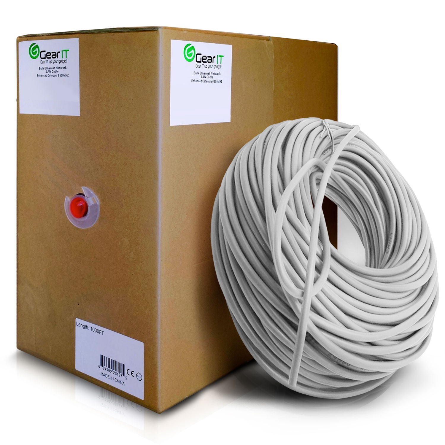 GearIT 1000 Feet Bulk Cat6 Ethernet Cable - Cat 6 550Mhz 23AWG Full Copper Wire UTP Pull Box - In-Wall Rated (CM) Solid Cat6, White