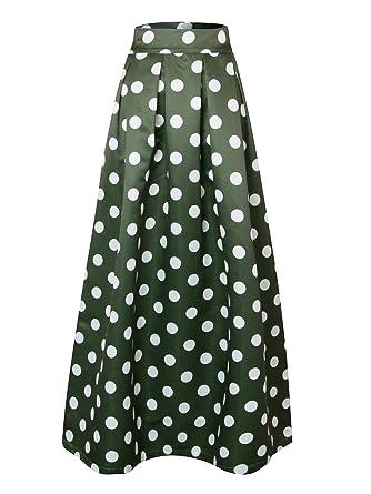d2a5868f83b CHARLES RICHARDS CR Women's Dark Green Contrast Polka Dot Print Maxi Skirt