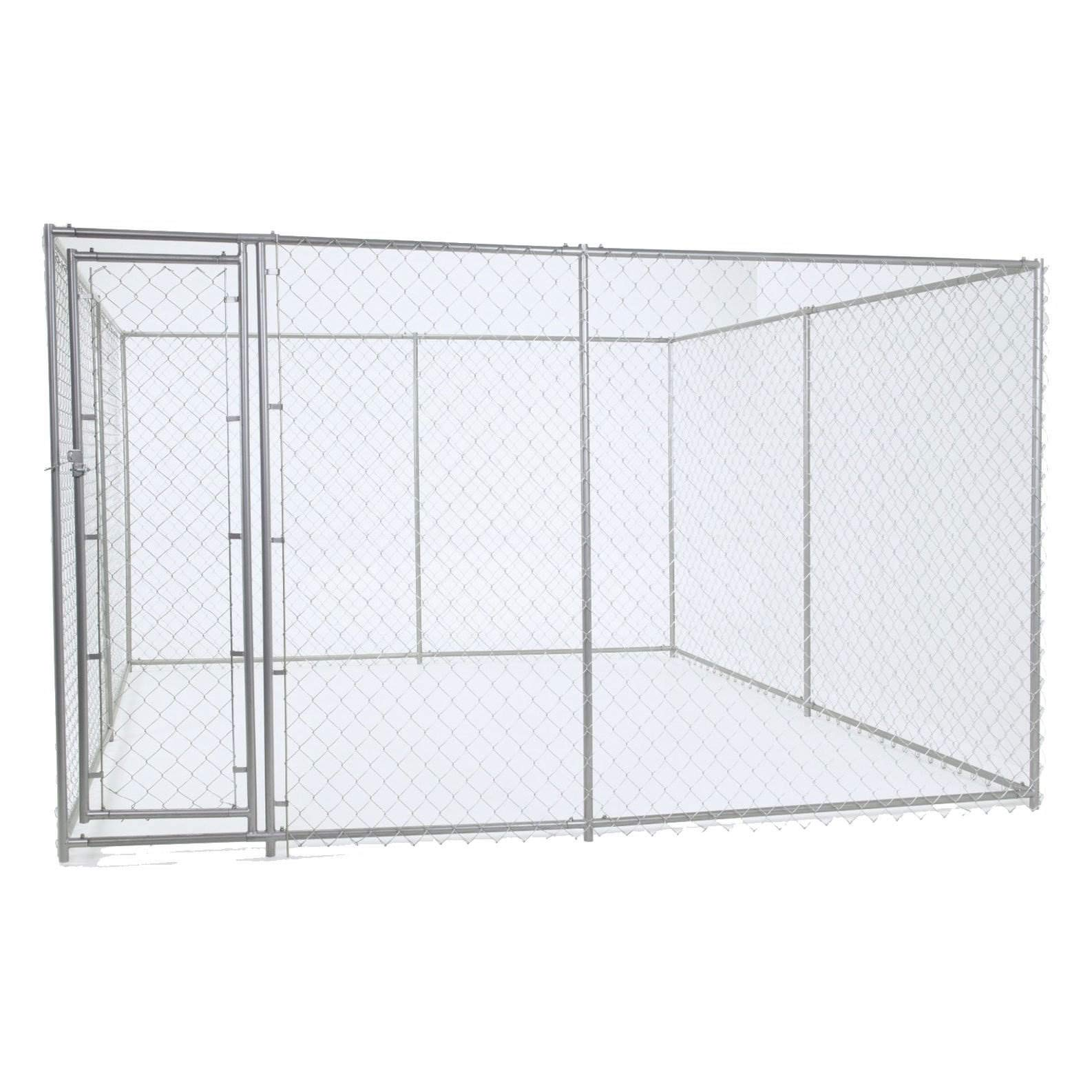 Chain Link Dog Kennel - Lucky Dog Outdoor Heavy Duty Pet Kennel - This Pet Cage System is Perfect For Containing Larger Dogs and Small Animals. Galvanized chain link doesn't kink or tangle. Two setup options (5'W x 15'L x 6'H or 10'W x 10'L x 6'H) by Lucky Dog