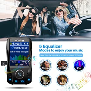 VicTsing (Upgraded Version) Bluetooth FM Transmitter for Car, 1.8 Color Screen Wireless Radio Transmitter Adapter with EQ Mode, Power Off, 3 USB Ports, 4 Music Playing, Hands-Free Calls, AUX Input (Color: Black)