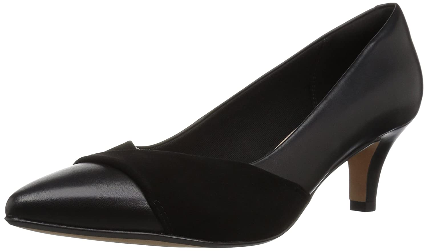 CLARKS Women's Linvale Vena Pump B077Z4YV3M 070 W US|Black Leather/Nubuck Combi