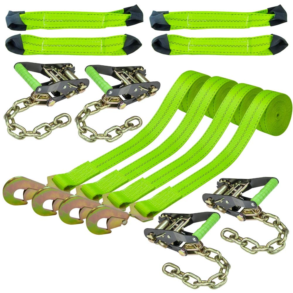 Vulcan Hi-Viz Optic Lime Green Reflective 8-Point Vehicle Tie Down Kit with Snap Hook On Strap Ends and Chain Tail On Ratchet Ends (Set of 4)