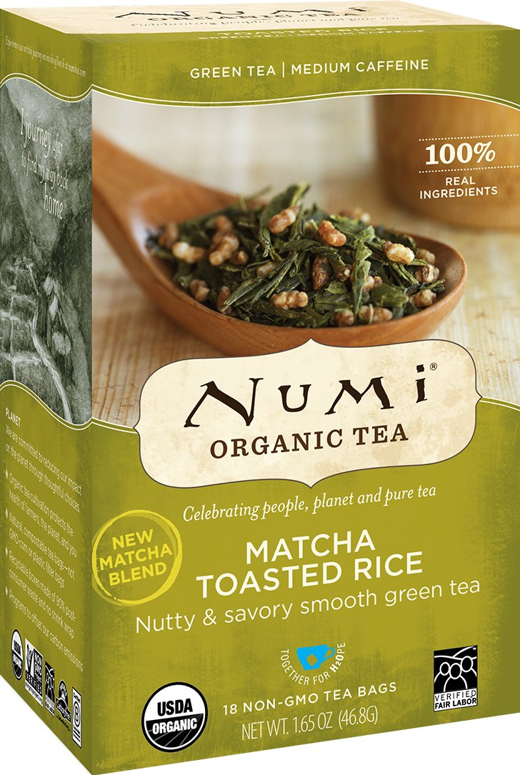 Numi Organic Tea Matcha Toasted Rice, 18 Count Box of Tea Bags (Pack of 6) Green Tea (Packaging May Vary)