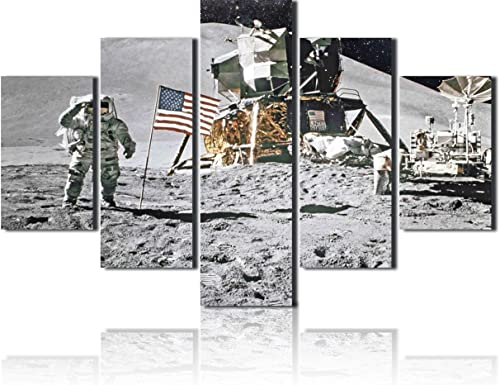 American Native Canvas Wall Art Armstrong Landing on The Moon Pictures Extra Big Paintings Military Posters and Prints 5 PCS Home Decor