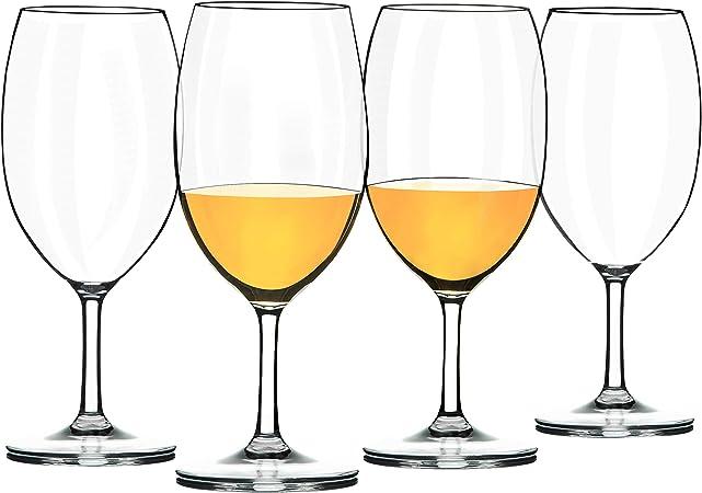 COOKY.D Verres à vin Blanc Rouge, Verres à vin en Tritan Plastique Incassables 570 ML, Lavables au Lave Vaisselle, Lot de 2