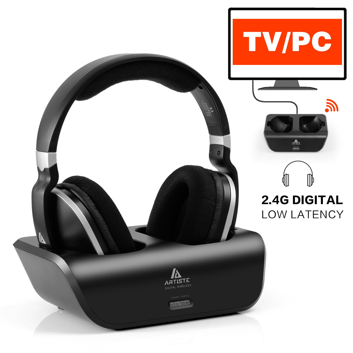 Wireless TV Headphones Over Ear Headsets - Digital Stereo Headsets with 2.4GHz RF Transmitter, Charging Dock, 100ft Wireless Range and Rechargeable 20 Hour Battery, Black by ARTISTE