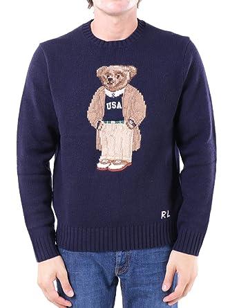 Polo Ralph Lauren Casual Bear Intarsia Crew Knit Navy-XL: Amazon ...