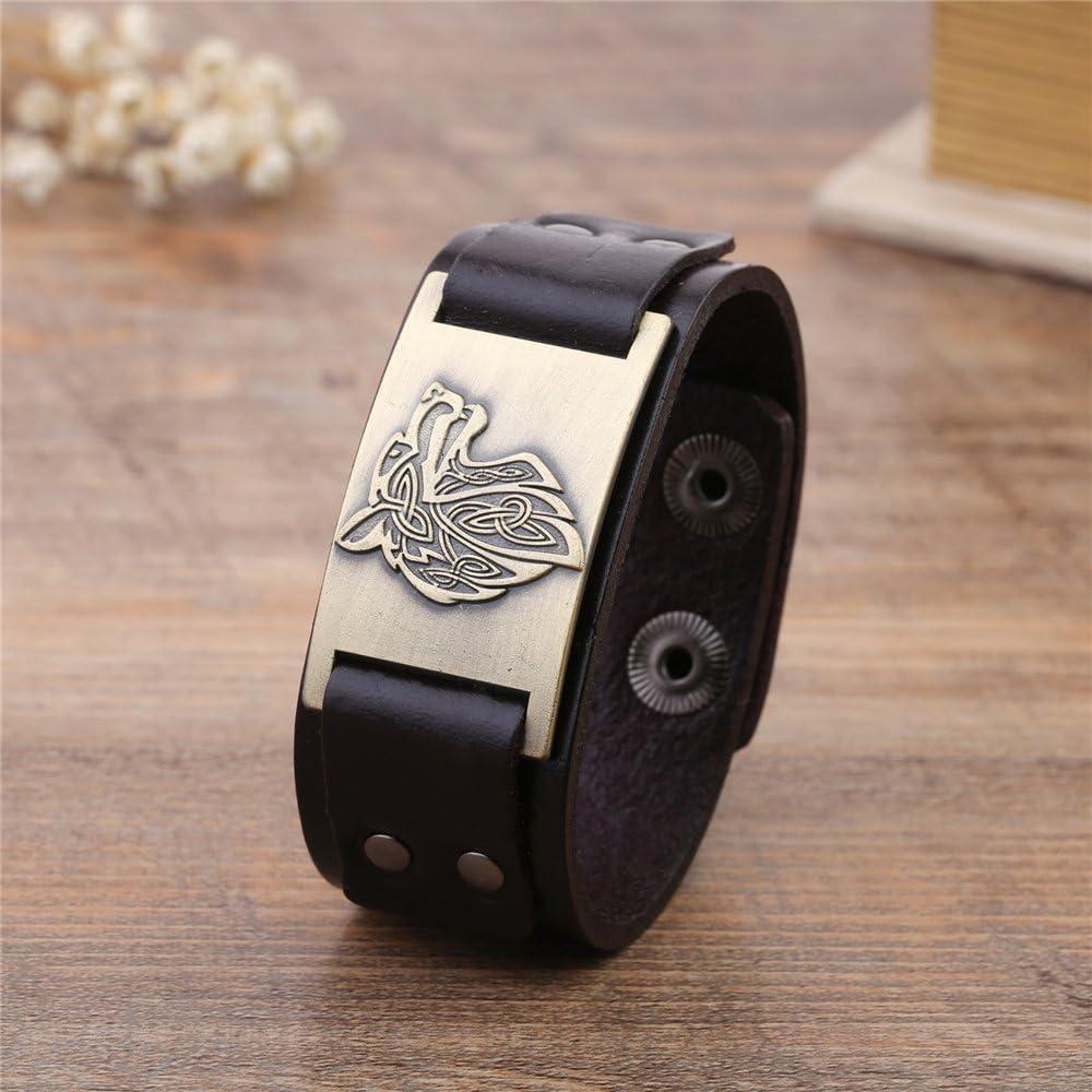 Fishhook Wicca Bracelet en cuir avec amulette et rune