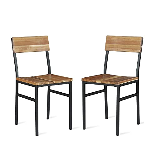 Novogratz Linden Wood and Metal, Natural, Gray 2-Pack Dining Chairs,