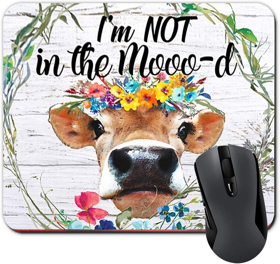I'm Not in The Mooo-d Funny Heifer Mouse Pad Watercolor Floral Wreath Quote Cow Mousepad Farmhouse Desk Decor Office Accessories