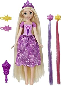 Disney Princess Hair Style Creations Rapunzel Fashion Doll, Hair Styling Toy with Brush, Hair Clips, Hair Extensions and Removable Fashion