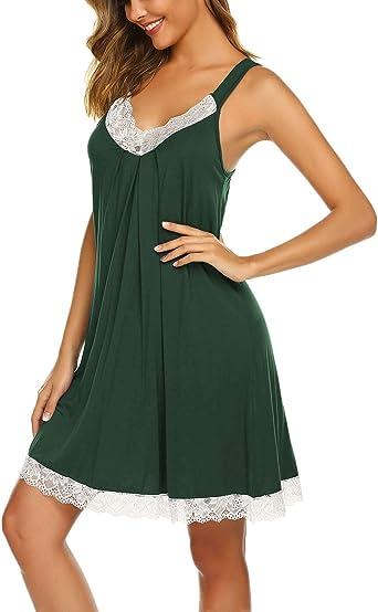 Womens Plus Size Scalloped Lace Trim Jersey Nightie Sleepshirt Sleepwear