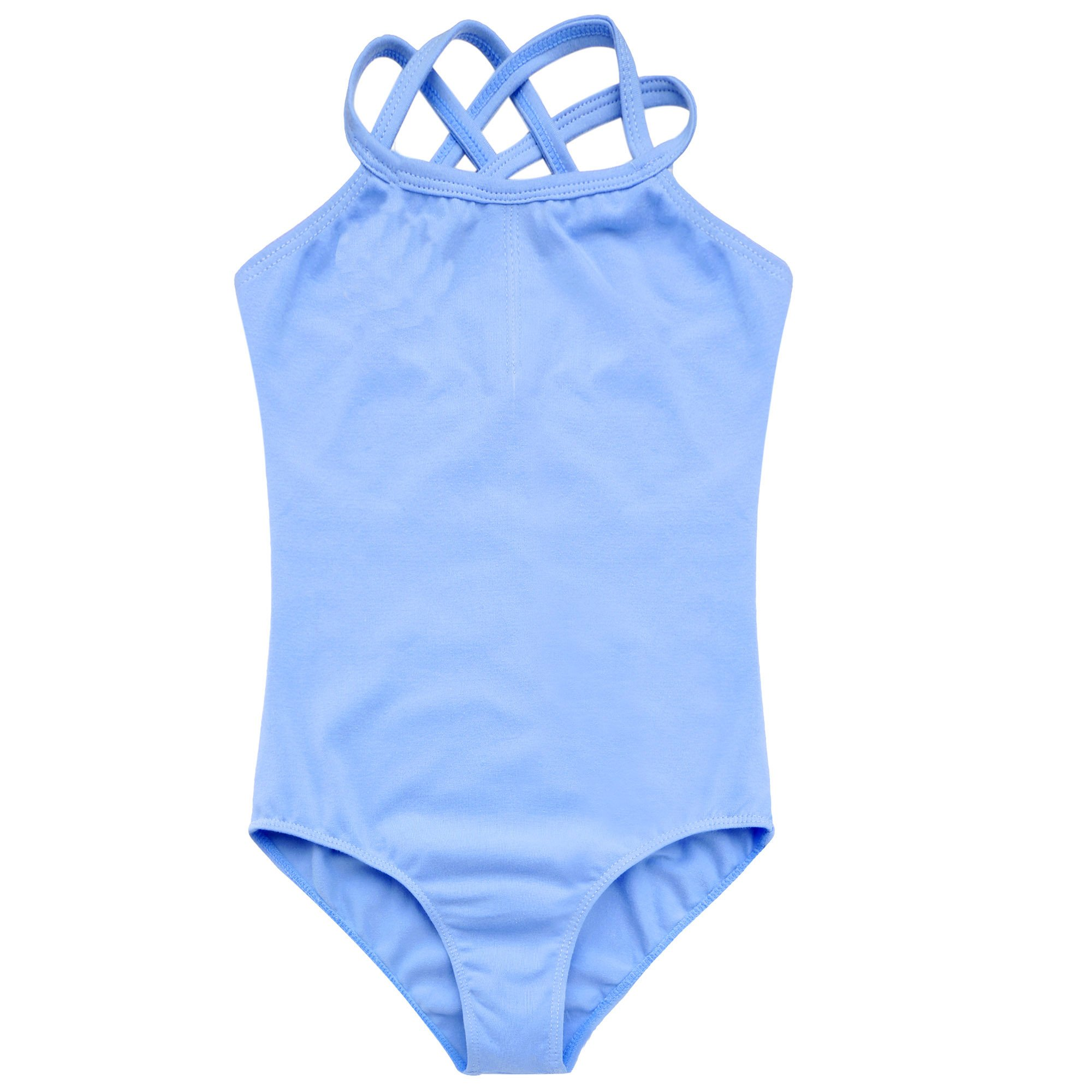 Arshiner Kids Girl's Double Strap Slim Solid Camisole Leotard (130(Age: 5-6Y), Blue)