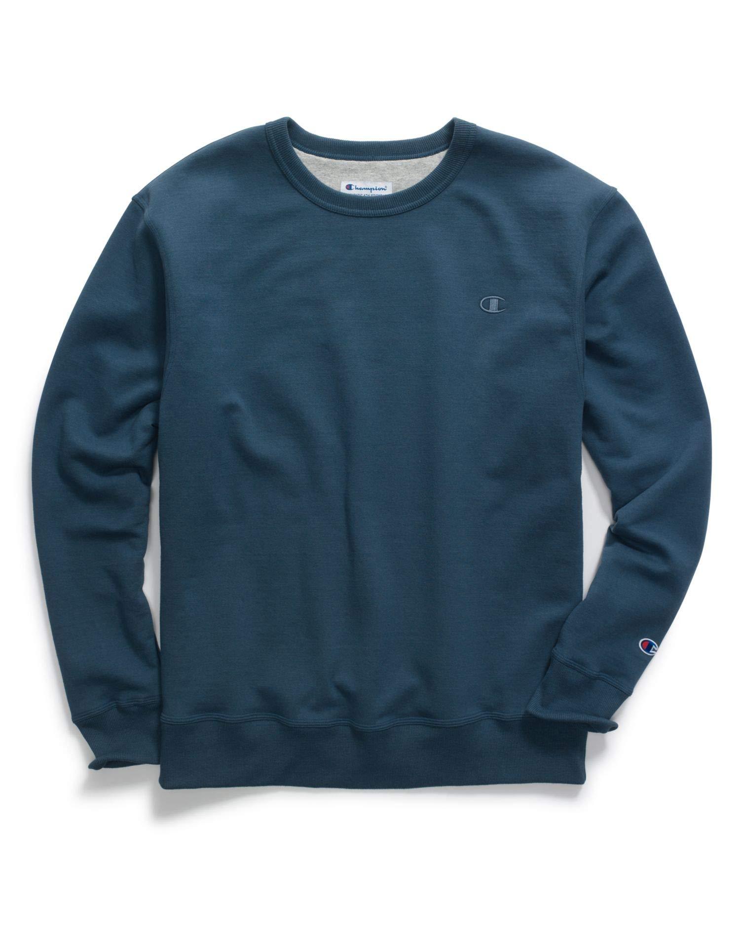 Champion Men's Powerblend Fleece Pullover Crew, Juniper Blue, Size - S