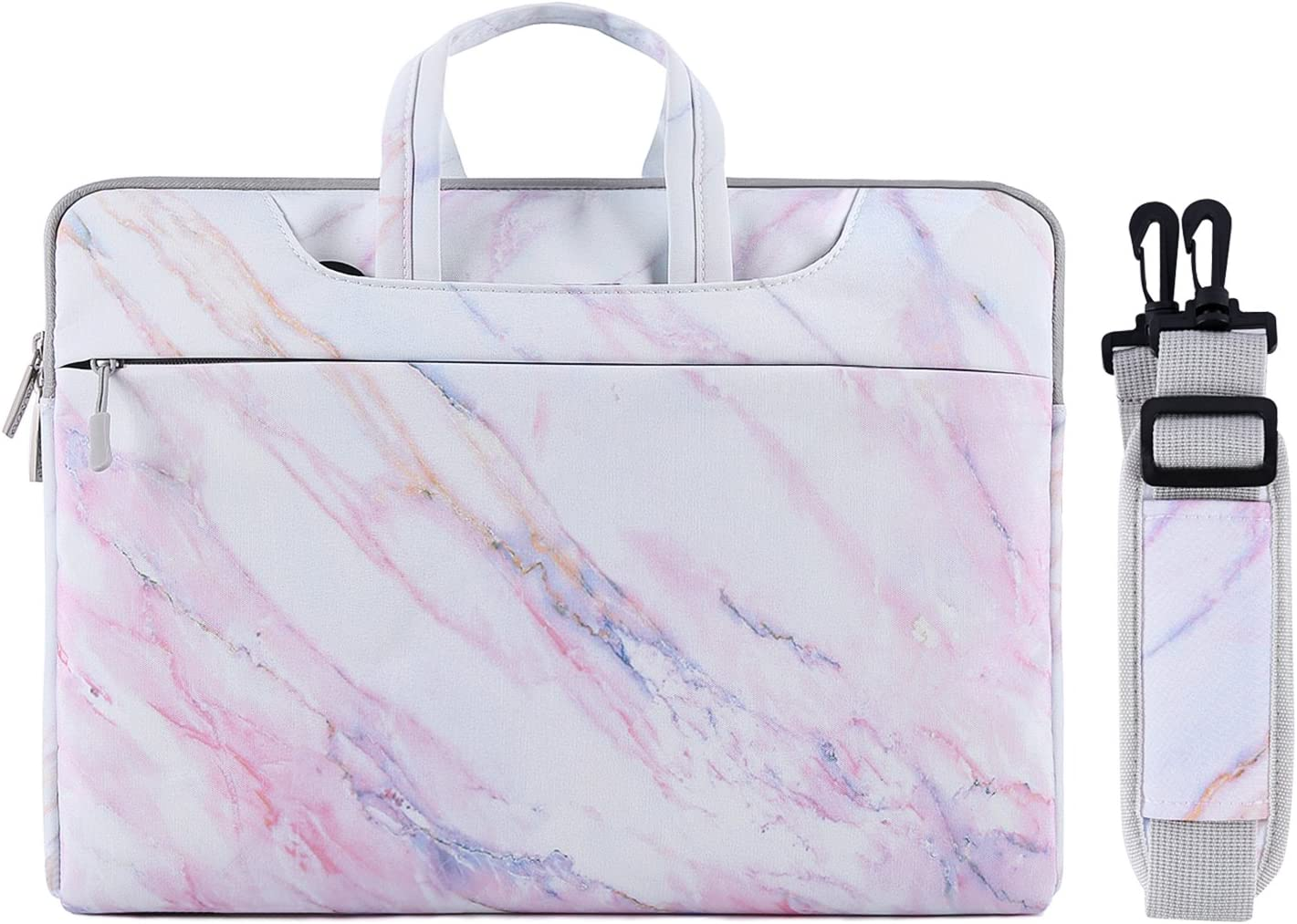MOSISO Laptop Shoulder Bag Compatible with MacBook Pro 16 inch A2141, 15 15.4 15.6 inch Dell Lenovo HP Asus Acer Samsung Sony Chromebook, Canvas Cross Grain Marble Carrying Briefcase Sleeve Case