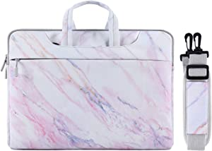 MOSISO Laptop Shoulder Bag Compatible with 15 inch MacBook Pro Touch Bar A1990 A1707, ThinkPad X1 Yoga, 14 Dell HP Acer, Surface Laptop 3 15, Canvas Cross Grain Marble Carrying Briefcase Sleeve Case