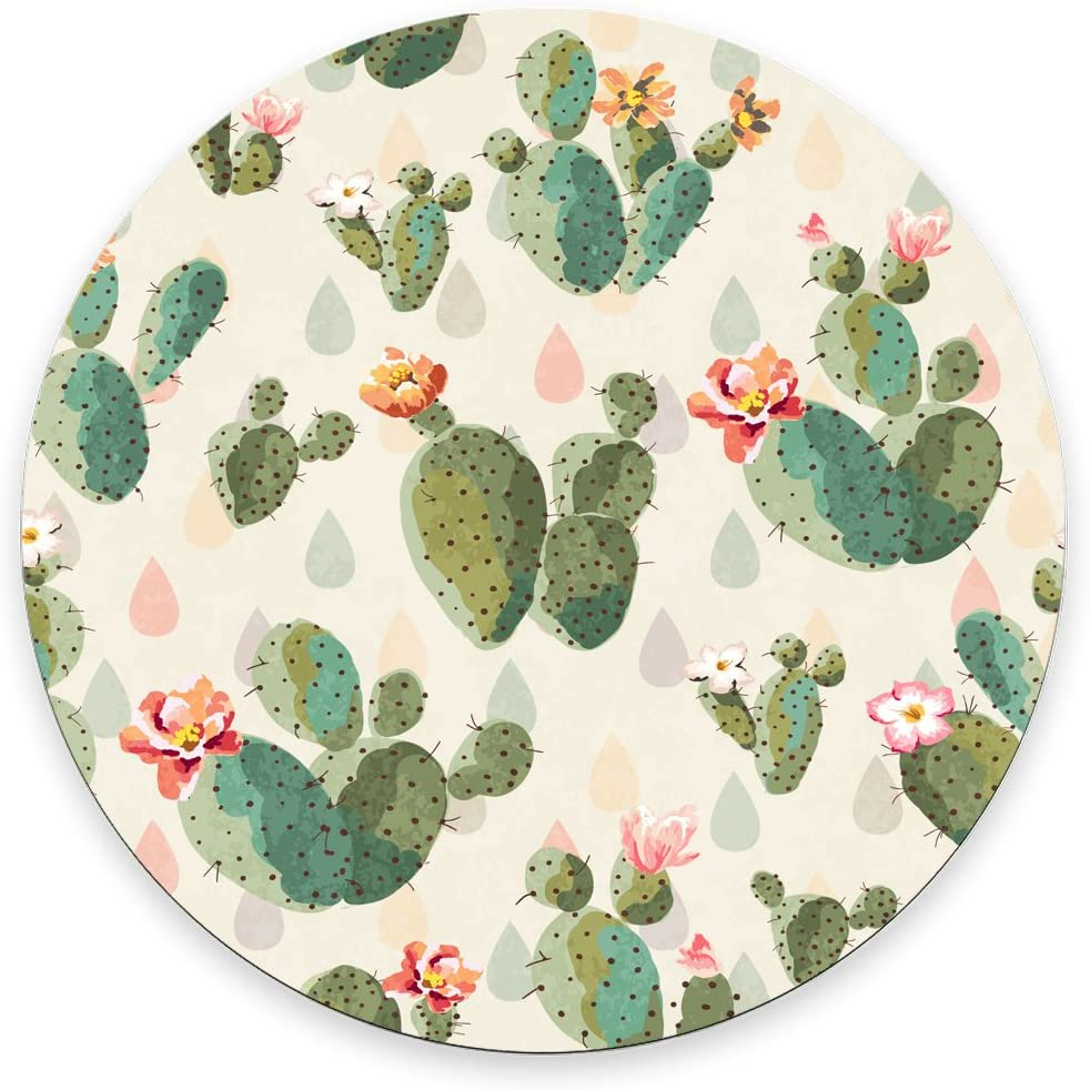 Cactus Mouse Pad Coworker Gift Office Supplies Gift Office Decor Cactus Mousepad Plants Office Desk Accessories Round Mouse Pad