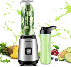 REDMOND Personal Blender 20 oz Countertop Smoothie Blender 20000 RPM 300W with 600ml Travel Bottle for Milk Shakes juice Fruit Vegetable BPA Free