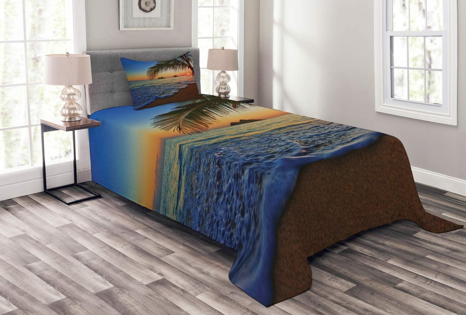 Ambesonne Hawaiian Bedspread, Pacific Sunrise at Lanikai Beach Hawaii Colorful Sky Wavy Ocean Surface Scene, Decorative Quilted 2 Piece Coverlet Set with Pillow Sham, Twin Size, Blue Ivory